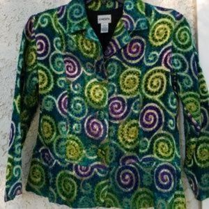CHICOS green purple swirl jacket